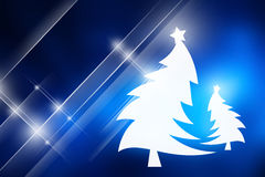 Christmas trees with blue background. Stock Photos