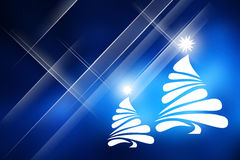 Christmas trees with blue background. Royalty Free Stock Images