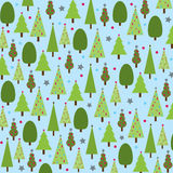 Christmas Trees on Blue Background. Various Christmas Trees with stars and dots on blue background Royalty Free Stock Photography