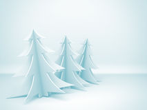 Christmas trees on blue background. Holiday card background Royalty Free Stock Photo