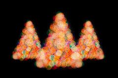 Christmas trees bokeh lights Royalty Free Stock Image