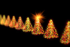 Christmas trees bokeh lights. In a row on black Stock Images