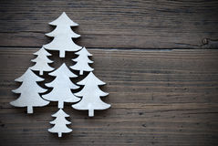 Christmas Trees On Brown Wooden Background Frame Royalty Free Stock Image