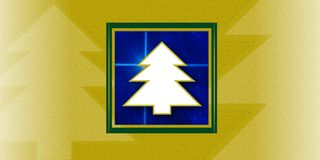 Christmas trees card. Stylized christmas trees card yellow blue stock illustration