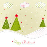 Christmas trees card. Patchwork style Royalty Free Stock Photography