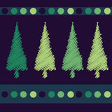 Christmas trees card design Stock Photo