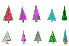 Christmas trees card Stock Photos