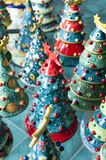 Christmas trees in ceramics. Handcrafted and painted in vietri sul mare, Vietri ceramics, Made in Italy excellence Royalty Free Stock Photography