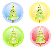 Christmas Trees Circle Icons Royalty Free Stock Image
