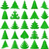 Christmas trees collection. On white Stock Image