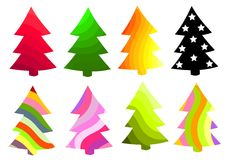 Christmas trees collection Royalty Free Stock Images