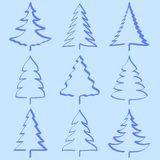 Christmas trees collection. In blue Royalty Free Stock Images