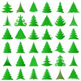 Christmas trees collection. On white Stock Photo