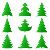 Christmas trees collection. Vector Christmas trees collection on white Stock Images