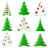Christmas trees collection Stock Photos