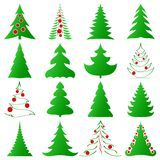 Christmas trees collection Royalty Free Stock Photos