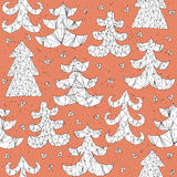 Christmas Trees Collection Pattern Stock Image
