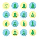 Christmas trees collection. Set of fir trees. Vector illustration Royalty Free Stock Photography