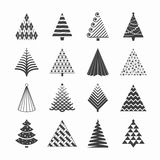 Christmas trees collection. Set of Christmas trees illustration Stock Photography
