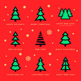 Christmas trees collection and sky with falling snow flakes. Colorful Christmas trees collection and sky with falling snow flakes with red background. Vector Royalty Free Stock Images