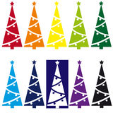 Christmas trees. Collection of ten Christmas trees Stock Photo