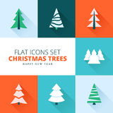 Christmas trees collection. Vector set of fir trees / pines / spruces Royalty Free Stock Photo