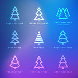 Christmas trees collection with violet background Royalty Free Stock Image