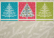 Christmas trees  on color crumple background Stock Photography
