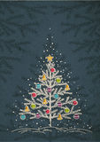 Christmas trees  on color dark background, vector Stock Photos