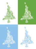 Christmas trees on colored backgrounds Stock Photo