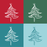 Christmas trees in 4 colour background Stock Images