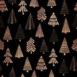 Christmas trees copper foil seamless vector pattern backdrop. Metallic shiny rose golden doodle trees on black background. Elegant. Design for Christmas, New royalty free illustration