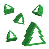 Christmas trees in 3D perspective Royalty Free Stock Photos