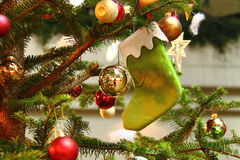 Christmas. Trees decorated with coloured baubles Stock Image