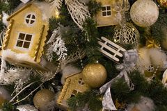 Christmas trees decorated with toys and flowers. royalty free stock images