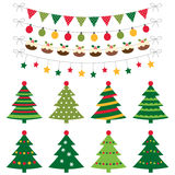 Christmas trees and decoration set Royalty Free Stock Images