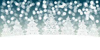 Christmas trees decoration on snow bokeh background Stock Photo