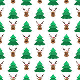 Christmas trees and deer pattern. Christmas trees and deer in Santa hat on a white background. Christmas seamless pattern. Holidays vector illustration in trendy Royalty Free Stock Image