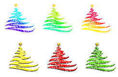 Christmas trees in different colors. Isolated on white background Royalty Free Stock Images