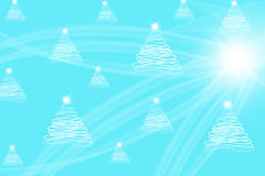 Christmas trees drawn with lens flare on bright Stock Photos