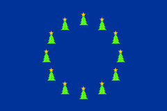 Christmas trees on EU-flag Royalty Free Stock Photos
