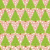 Christmas trees with face. Kids fun Christmas pattern. Pink background. Funny seamless christmas vector pattern. Fun Christmas vector illustration