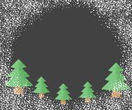 Christmas trees with falling snow, on a dark background with a place for your text. Vector illustration. royalty free illustration