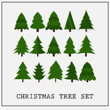 Christmas trees flat green collection  Stock Photos