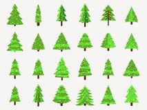 Christmas trees in a flat style. Decorated Christmas Tree.  Stock Photography