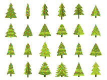 Christmas trees in a flat style. Decorated Christmas Tree. Fir trees isolated. On white background. Vector icons Stock Image
