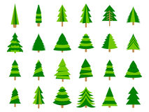 Christmas trees in a flat style. Firs isolation on a white background. Vector Royalty Free Stock Photography