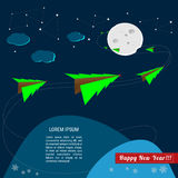 Christmas trees are flying in the space around the moon. Vector illustration Stock Image