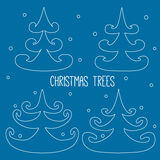 Christmas trees. Four white outlined christmas trees Royalty Free Stock Photos