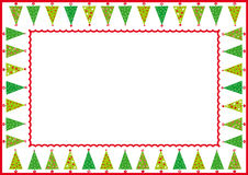 Christmas trees frame. Frame with christmas trees and red board Stock Image